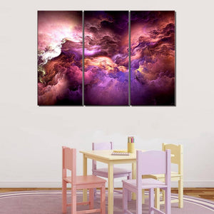 Burgundy Abstract Wall Art Canvas Psychedelic Art Space Cloud Purple Posters and Prints 3 Pieces Art Painting