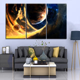 Modern Canvas Print Type 3 Piece Sci Space Planet Stars Painting Home Decorative Wall Artwork Living Room