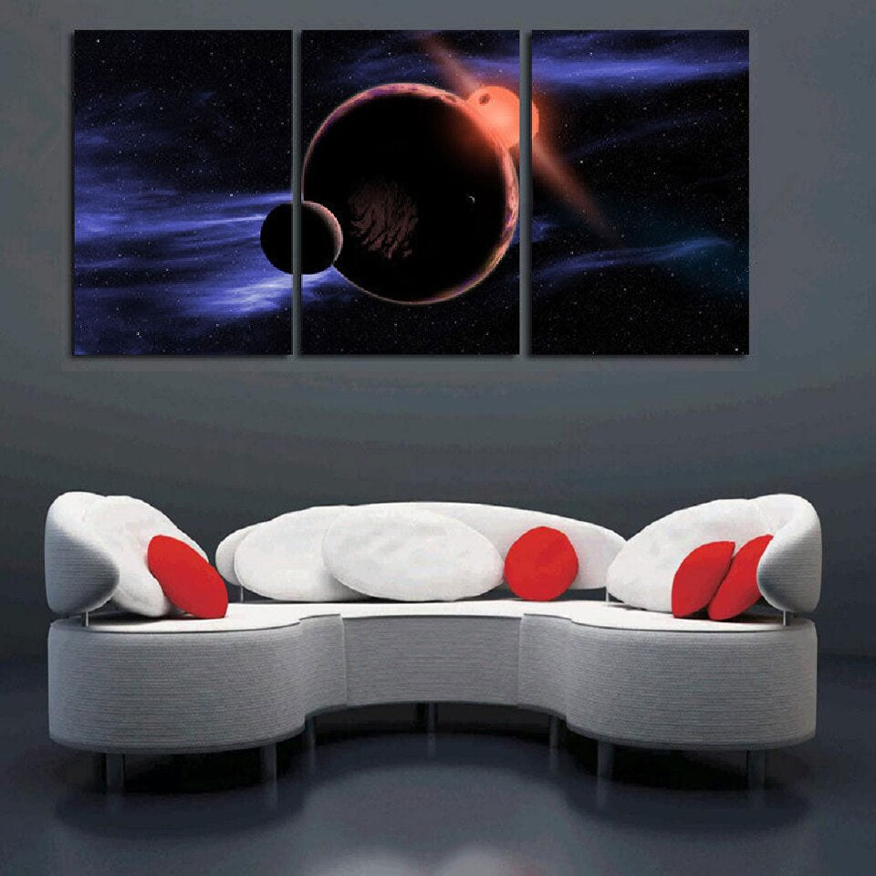 Universe Space HD Canvas Art Painting  Living Room Wall Decor 3 Pieces Ware Solar Eclipse Moon
