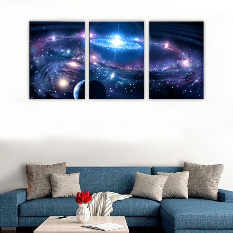 3 Pieces Canvas Paintings Picture Print Outer Space Starry Sky Home Decorative Wall Poster Living Room