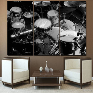 Hd Printed 3 Piece Canvas Art Music Instrument Painting Black White Drums Wall Pictures Living Room
