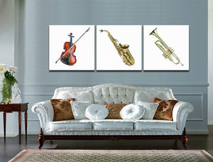 Realistic Music Instrument Still Life  Modern 3 Piece Art Print Size Home Decor Room