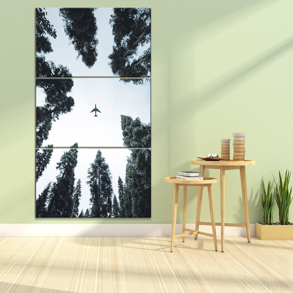 Canvas Painting 3 Piece Forest Tree Sky Airplane Picture Home Decorative Wall Art Type Style Modular Pictures
