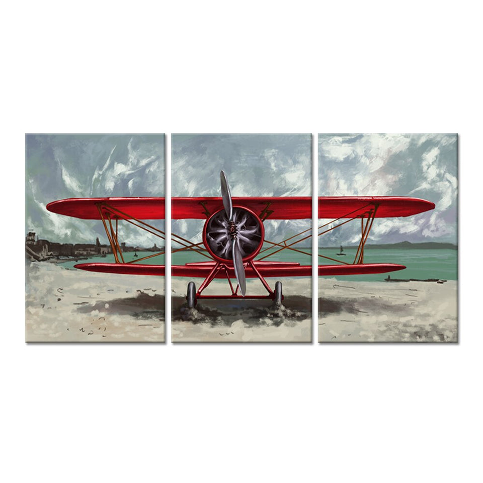 3 Pieces Canvas Wall Art Red Airplane Propeller Engine Aircraft Beside Beach The Picture Painting