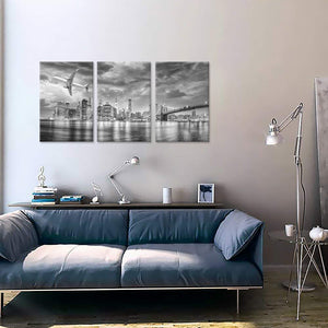 3 Pieces Canvas Wall Art Black White Brooklyn Bridge Airplane Overflying New York City Manhattan Skyline