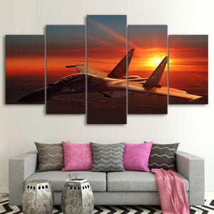 HD Printed Wall Art Canvas Pictures Airplane Poster 5 Pieces Aircraft Sunset Paintings Home Decor