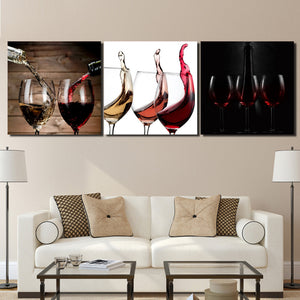 3 Piece Canvas Art Glasses Red Wine Alcohol Nordic Artwork Canvas Painting Wall Picture