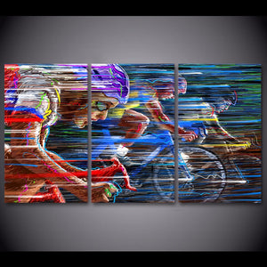 3 Pieces Bicycle Racing Sports Wall Art Canvas Pictures Bedroom Home Decor Printed Canvas Painting