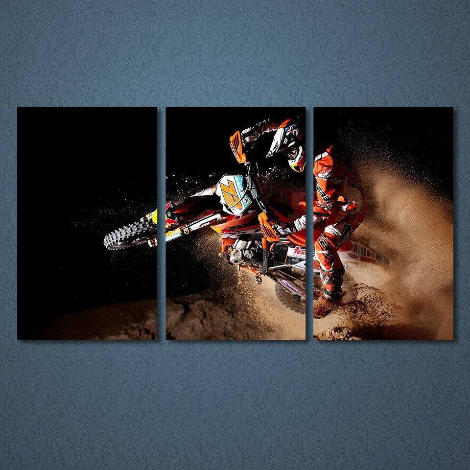 Canvas Paintings For Living Room Wall Art Prints Motorcycle Posters 3 Pieces Sports Motor Pictures