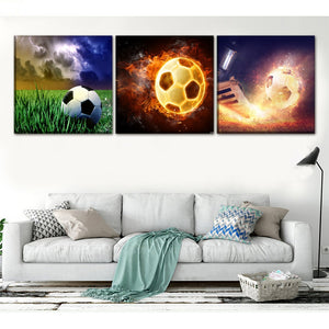 Home Decoration Canvas Painting HD Prints Sports Soccer 3 Pieces Abstract Modular Pictures Poster