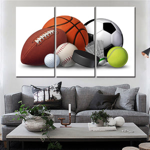 Wall Art Painting Picture Home Decor 3 Pieces Basketball Rugby Football Sports Modern HD Printed Canvas