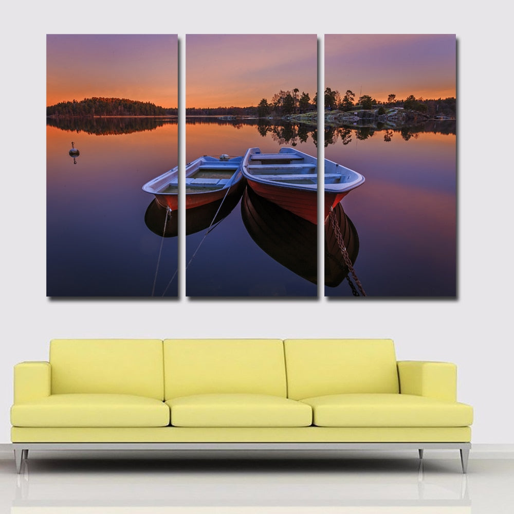3 Pieces Sweden Rivers Two Boats Sunsets Picture Canvas Art Painting Print Poster Home Decoration
