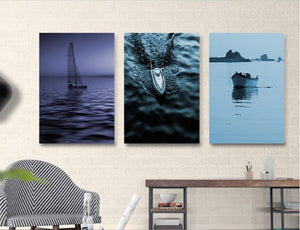 Nordic Conception Distant Sea And Boat 3 Pieces Landscape Decoration Paintings Canvas Paintings