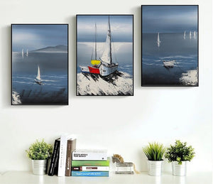 Modern Sailing Boat Landscape 3 Pieces Decorative Painting Wall Art Print Picture Canvas Painting Living Room