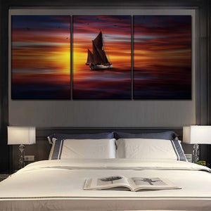 Canvas Painting Living Room Wall Art 3 Piece Sea Colorful Boat And Sunlight Landscape Picture Home Decor