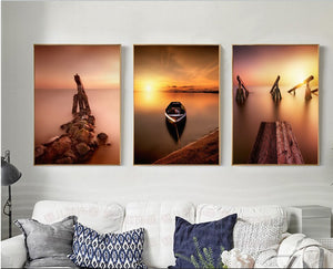 Modern Sunset Sea Boats Landscapes Canvas Pictures Decorative Paintings 3 Pieces Wall Canvas Art