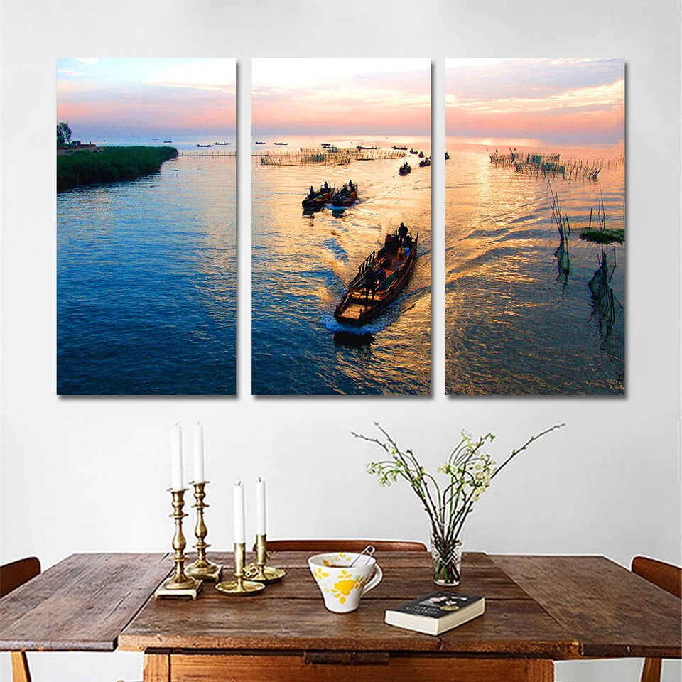 Canvas Wall Art Pictures Living Room Home Decor 3 Pieces Sailing Boat Sunset Seaview Painting Modular HD Prints
