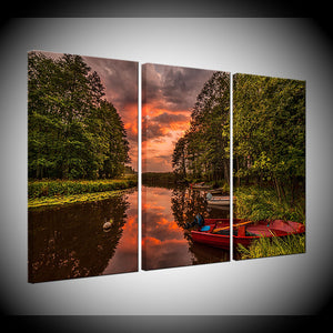 Canvas Painting Fishing Boat On River With Sunset 3 Pieces Wall Art Painting Modular Wallpapers Poster Print