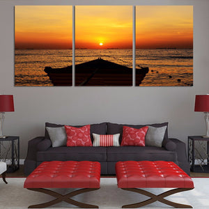 HD Canvas Art Painting Living Room Wall Decor 3 Pieces Sunset Boat Ship Sea Seascape