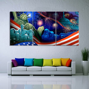 3 Piece American President Lincoln Artwork Painting Independence Day Decorative Picture Statue Liberty Poster