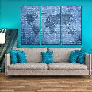 Canvas Wall Art Pictures Blue World Map Posters Home Decor Living Room 3 Pieces HD Printed Painting