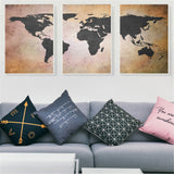 World Map Painting 3 Piece Wall Art Retro Vintage Poster Home Wall Decoration Canvas Print Bedroom