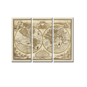 3 Pieces Ancient World Map Modular Wall Art Canvas Painting for Living Room