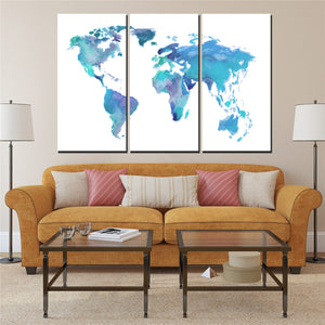 Wall Art Painting Canvas Painting Blue And White World Map Poster 3 Pieces Vintage Map World Maps 3 Pieces