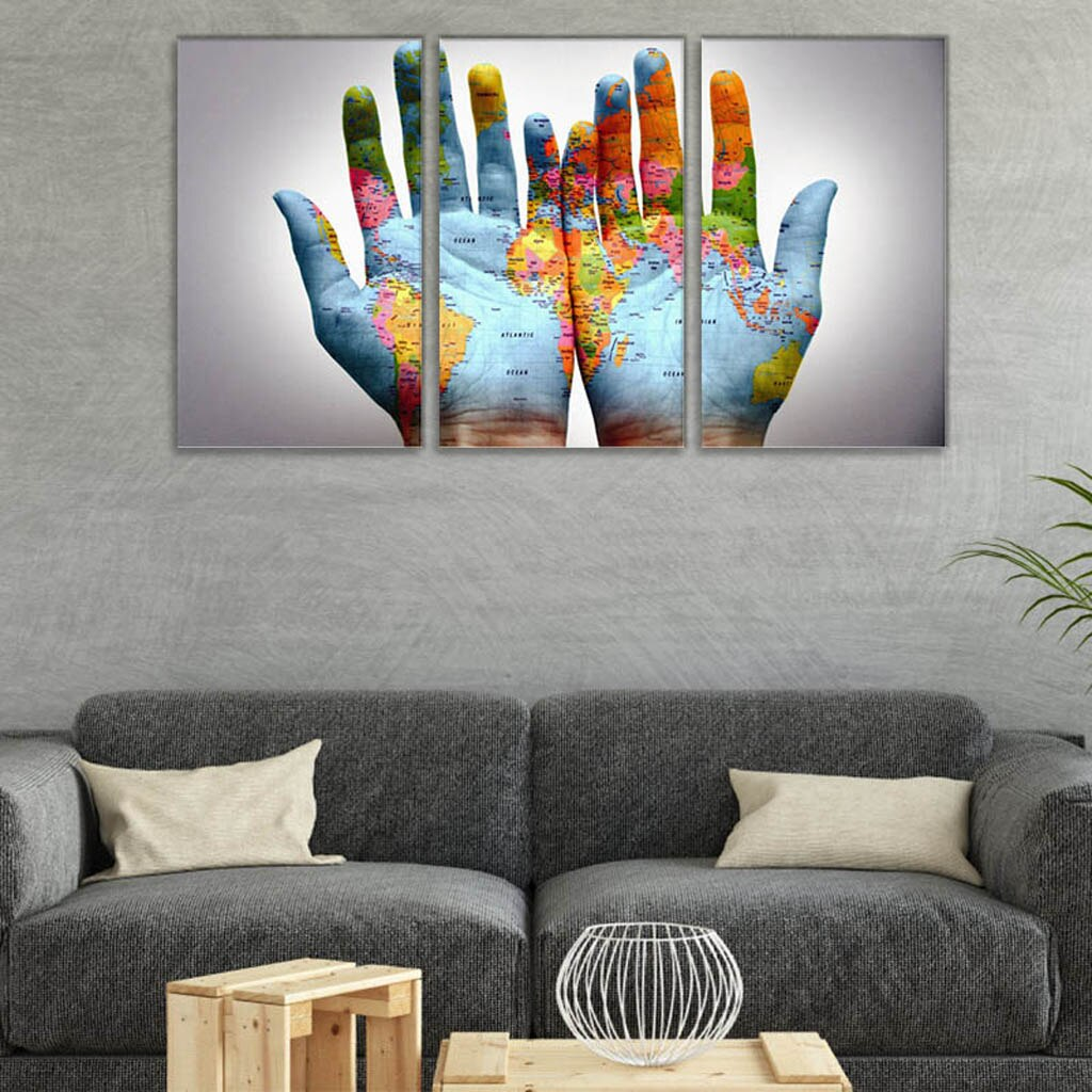 3 Piece Modern Canvas Prints of World Map on A Pair of Hands Wall Art