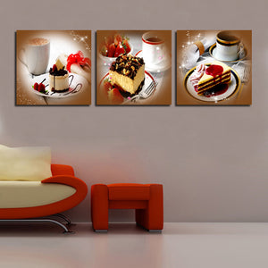 Chocolate Cake Coffee Painting 3 Pieces Wall Art Picture Modern Decor Canvas Printing