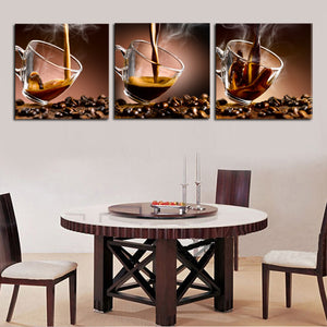 Modern Poster Wall Art 3 Pieces Coffee Cup Modern Home Wall Decor Canvas Art Picture Print Painting