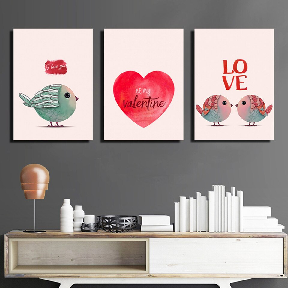 Living Room Wall Art Pictures HD Printed 3 Pieces Love Cartoon Birds Modern Painting Canvas Posters