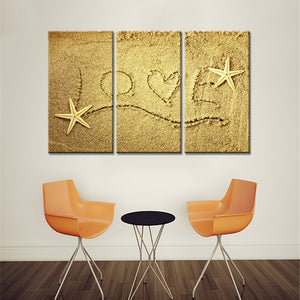 3 Pieces Canvas Wall Art Love on The Beach Shells Modern Canvas Painting Decorative Picture