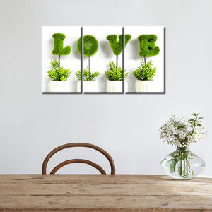 3 Pieces Bonsai Love Type of Grass Perfect Wedding Gift Room Decor Painting Canvas Print Wall Art Decoration Green