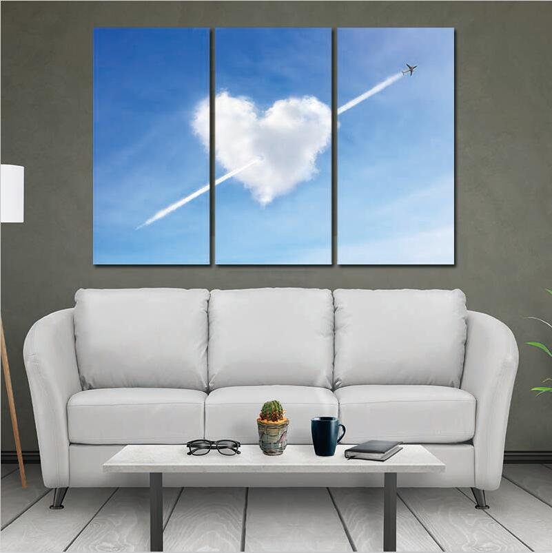 Canvas Paintings Modern Home Wall Decor Art Picture Print Painting 3 Pieces Cloud Heart Love Artworks