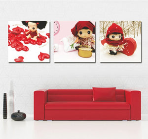 Canvas Painting Oil Painting 3 Piece Modern Cartoon Beautiful Lovely Girl Wall Pictures Kids Bedroom