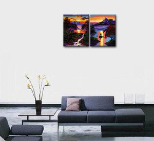 Landscape Oil Painting Printed 2 Pieces Canvas Wall Art Living Room Decoration Canvas Painting