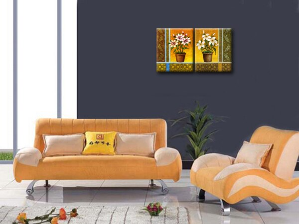 Flower In Vase Pictures Living Room Decorative Painting Friends Reproduction 2 Pieces Canvas Art