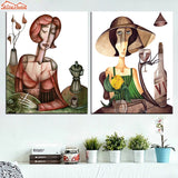 Abstract 2 Pieces Canvas Oil Paintings Printing Prints Figure Drinking Woman Posters Living Room Cafe Bar Wall Decor