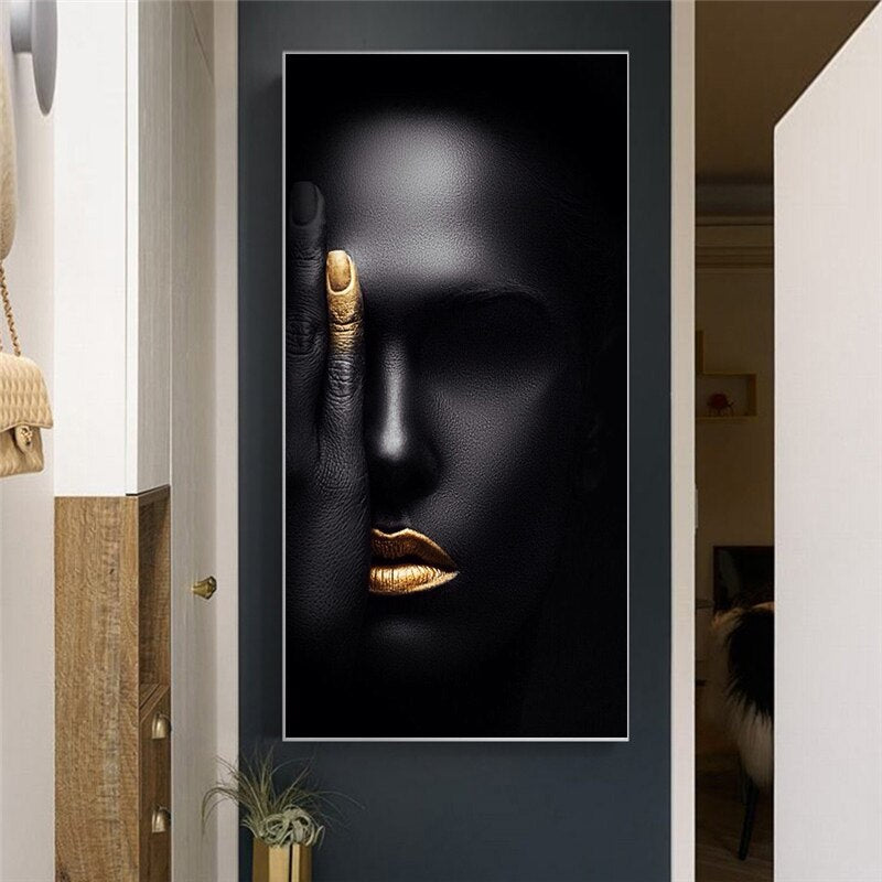 Canvas Prints Painting Wall Artwork Poster Abstract Black Woman Face Portrait Modular Pictures Modern