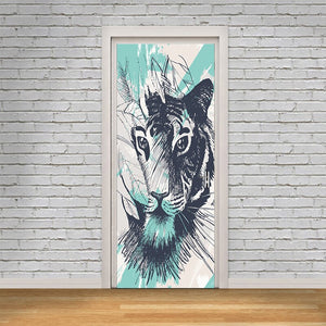 Door Stickers Renew PVC Mural Paper Animal Tiger Printed Art Picture Self Adhesive Waterproof Wallpaper
