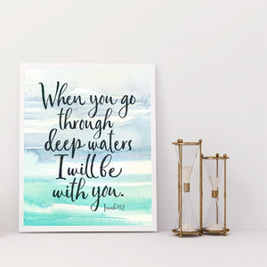 Bible Verse Quote Print Watercolor Ocean Poster Decoration Wall Art Canvas Painting Scripture Decor