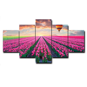 5 Panel Garden Flowers Posters and Prints Canvas Painting Modern Nordic Modern Wall Art Picture
