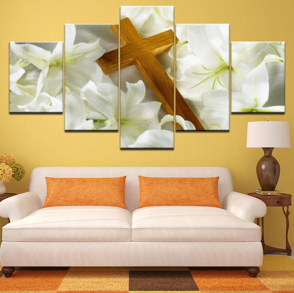Prints Wall Art Abstract Flower Canvas HD Home Decor 5 Pieces Keep Faith Modular Christ Jesus Cross Pictures