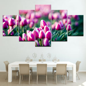 Flowers Prints Natural Landscape Poster Canvas Painting 5 Pieces Modern Wall Art Modular Pictures