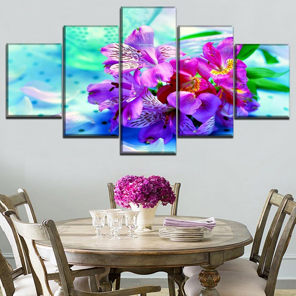 Wall Art Home Decor Poster 5 Pieces Colorful Flower Pink Earth Painting Canvas HD Printed Modular Pictures