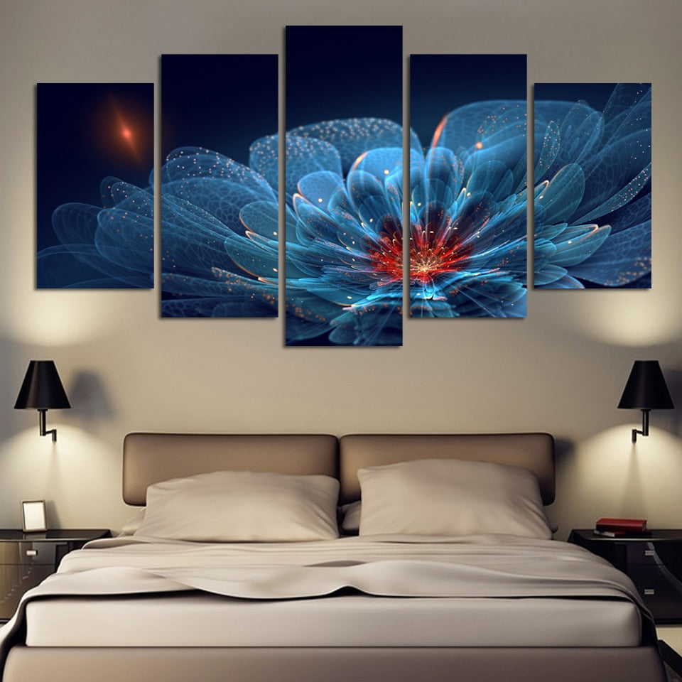 5 Piece Modern Wall Painting flower transparent Home Decorative Art Picture Paint on Canvas Prints