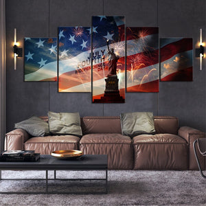 5 Piece Festive Decoration Painting Independence Day Wall Art Picture Statue of Liberty American Flag Poster