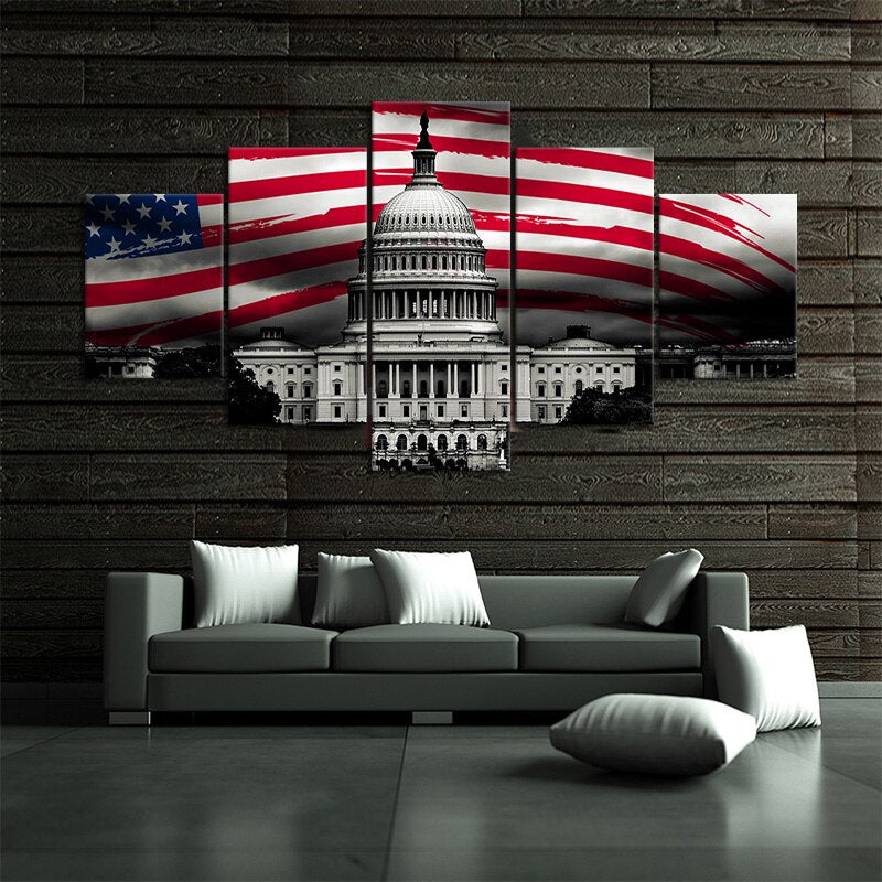 5 Piece Independence Day Festive Decor Wall Sticker American Flag White House Artwork Painting Wall Art