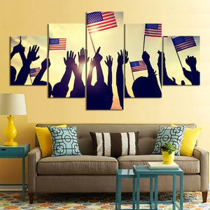 5 Piece American Flag Wall Art Canvas Painting Independence Day Festive Decor Wall Sticker Wall Painting HD